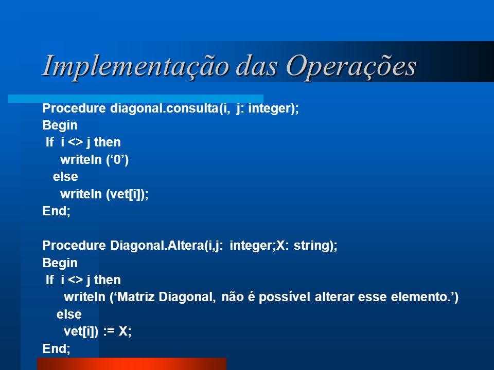 Implementação das Operações Procedure diagonal.consulta(i, j: integer); Begin If i <> j then writeln (0) else writeln (vet[i]); End; Procedure Diagona