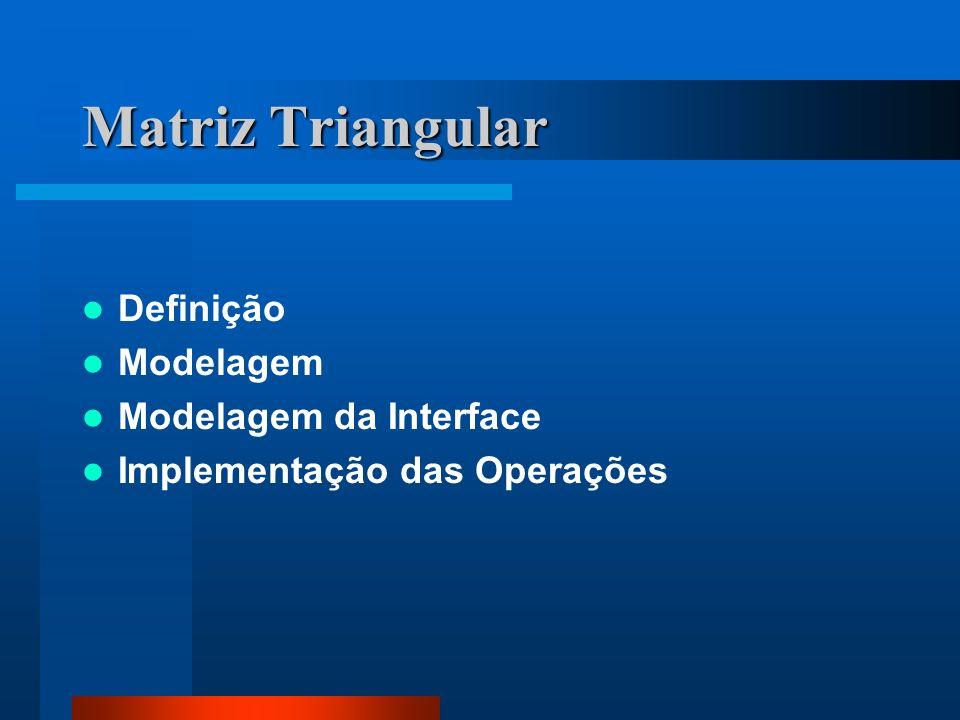 Matriz Triangular Definição Modelagem Modelagem da Interface Implementação das Operações