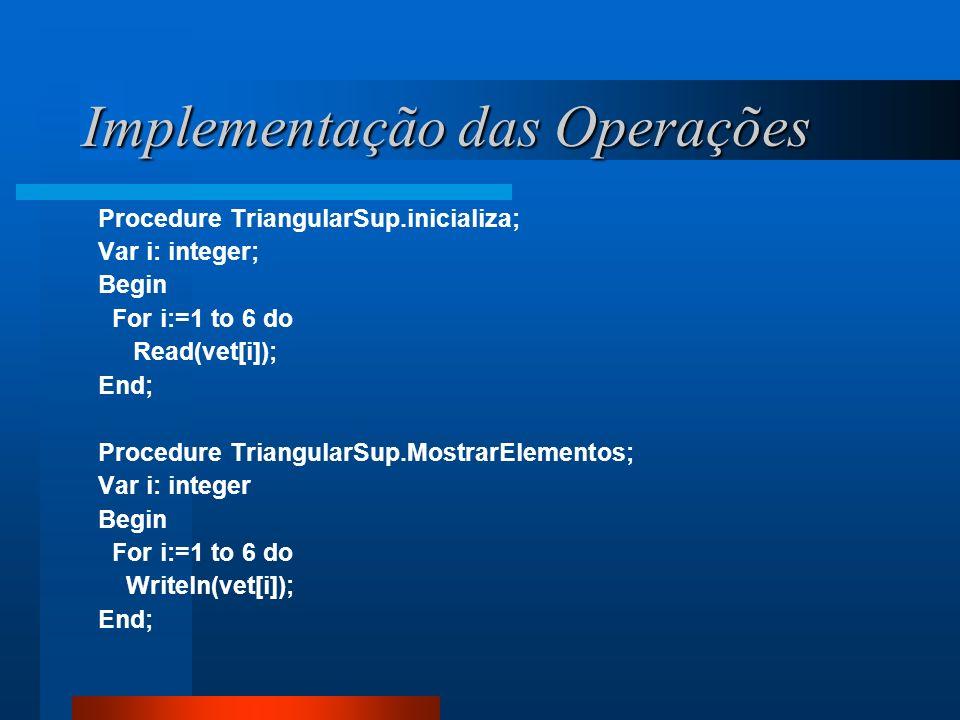 Implementação das Operações Procedure TriangularSup.inicializa; Var i: integer; Begin For i:=1 to 6 do Read(vet[i]); End; Procedure TriangularSup.Most