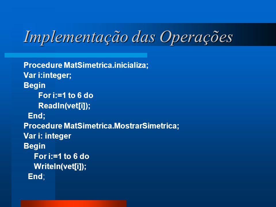 Implementação das Operações Procedure MatSimetrica.inicializa; Var i:integer; Begin For i:=1 to 6 do Readln(vet[i]); End; Procedure MatSimetrica.Mostr