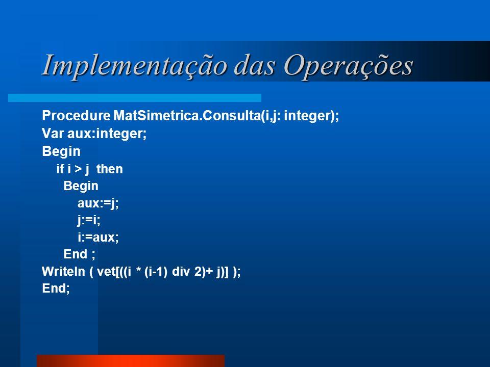 Implementação das Operações Procedure MatSimetrica.Consulta(i,j: integer); Var aux:integer; Begin if i > j then Begin aux:=j; j:=i; i:=aux; End ; Writ