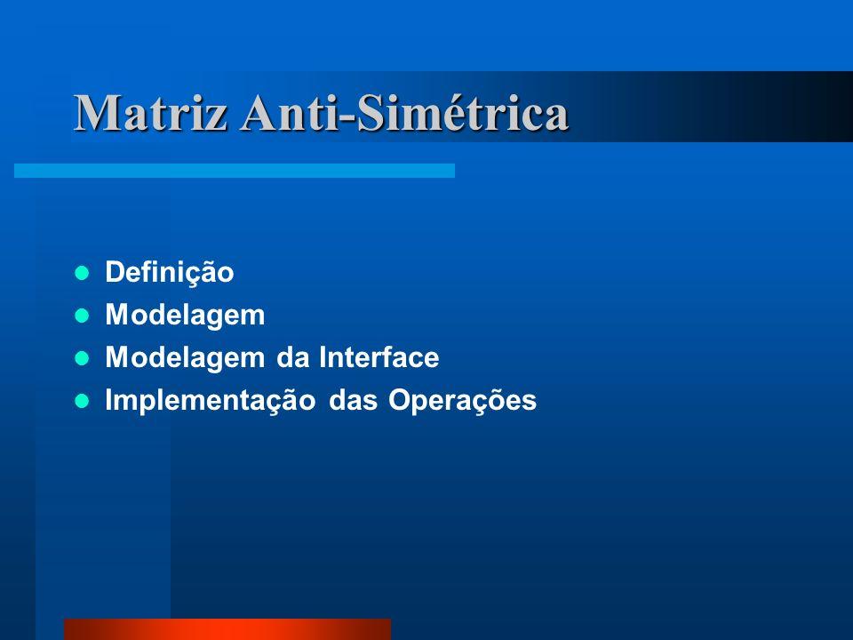 Matriz Anti-Simétrica Definição Modelagem Modelagem da Interface Implementação das Operações