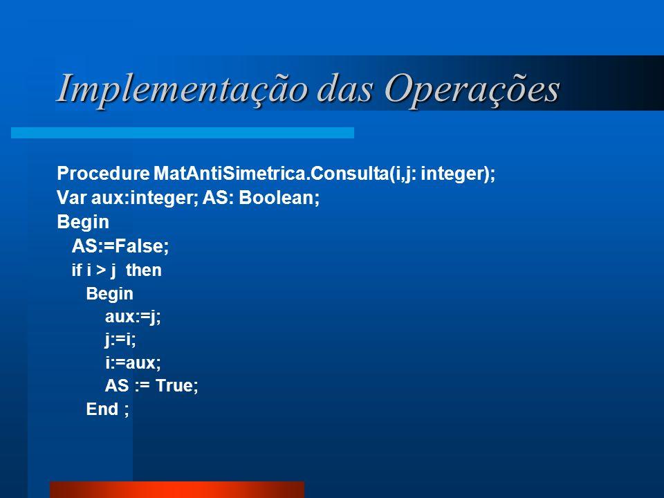Implementação das Operações Procedure MatAntiSimetrica.Consulta(i,j: integer); Var aux:integer; AS: Boolean; Begin AS:=False; if i > j then Begin aux: