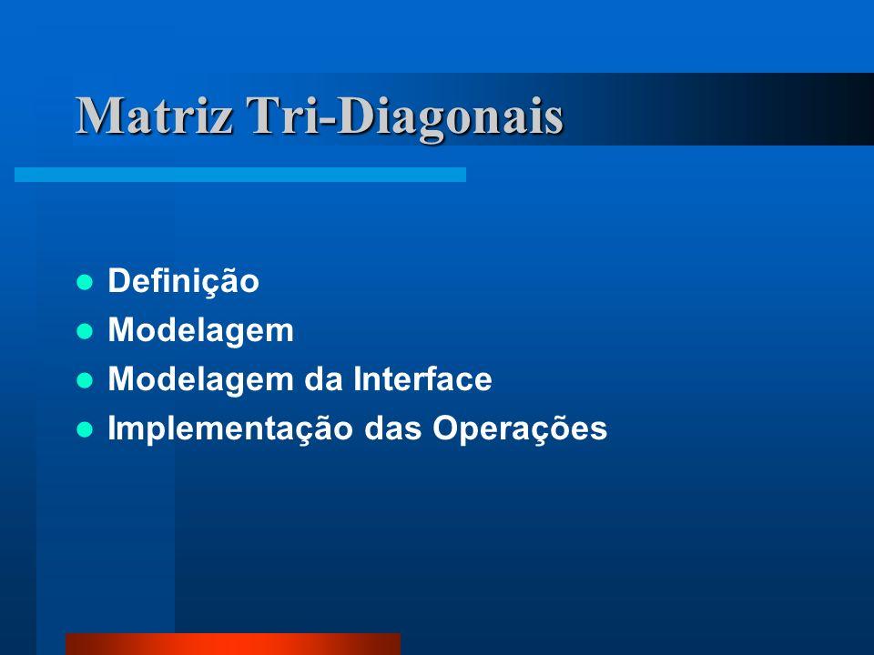 Matriz Tri-Diagonais Definição Modelagem Modelagem da Interface Implementação das Operações