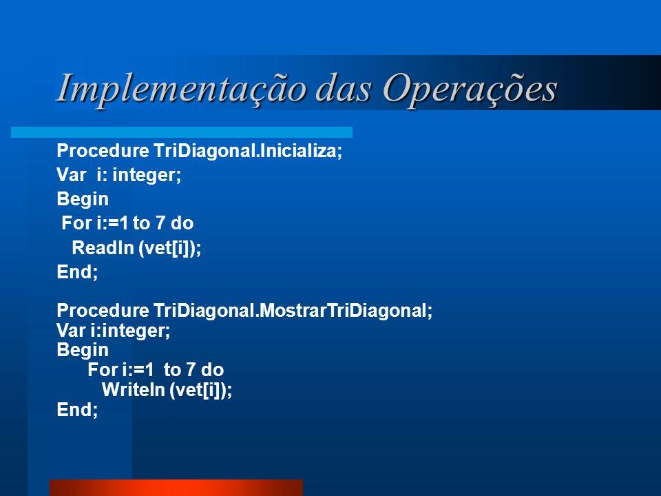 Implementação das Operações Procedure TriDiagonal.Inicializa; Var i: integer; Begin For i:=1 to 7 do Readln (vet[i]); End; Procedure TriDiagonal.Mostr