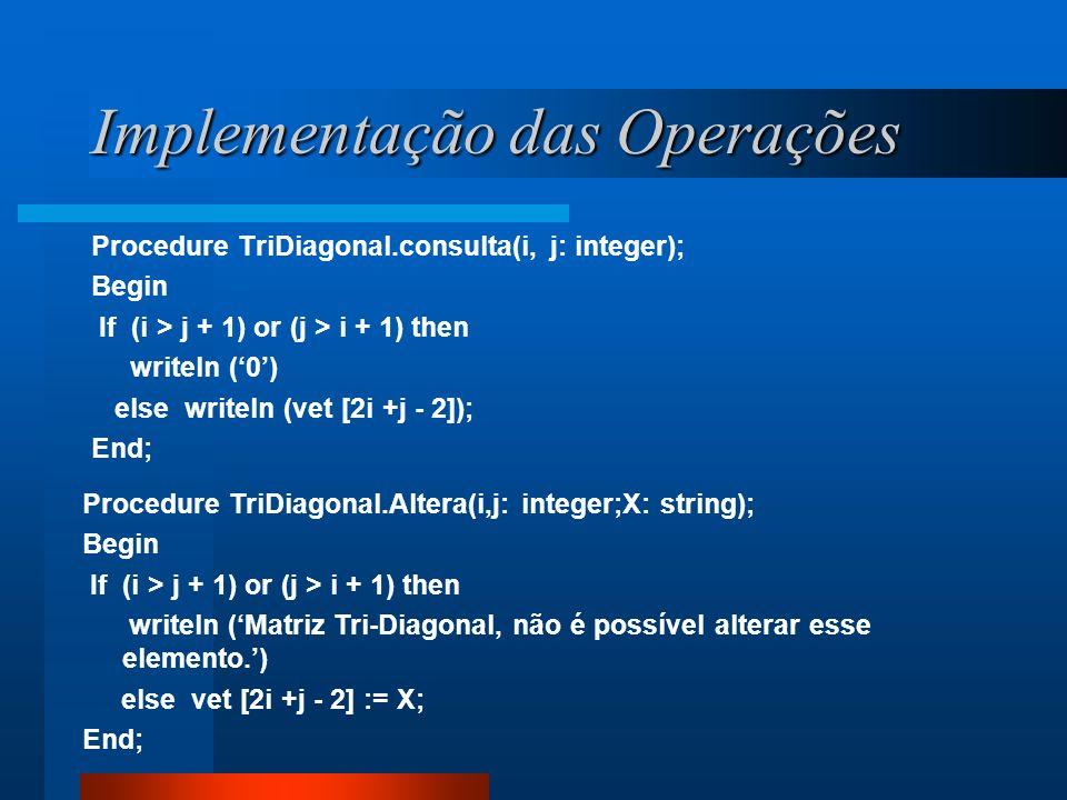 Implementação das Operações Procedure TriDiagonal.consulta(i, j: integer); Begin If (i > j + 1) or (j > i + 1) then writeln (0) else writeln (vet [2i