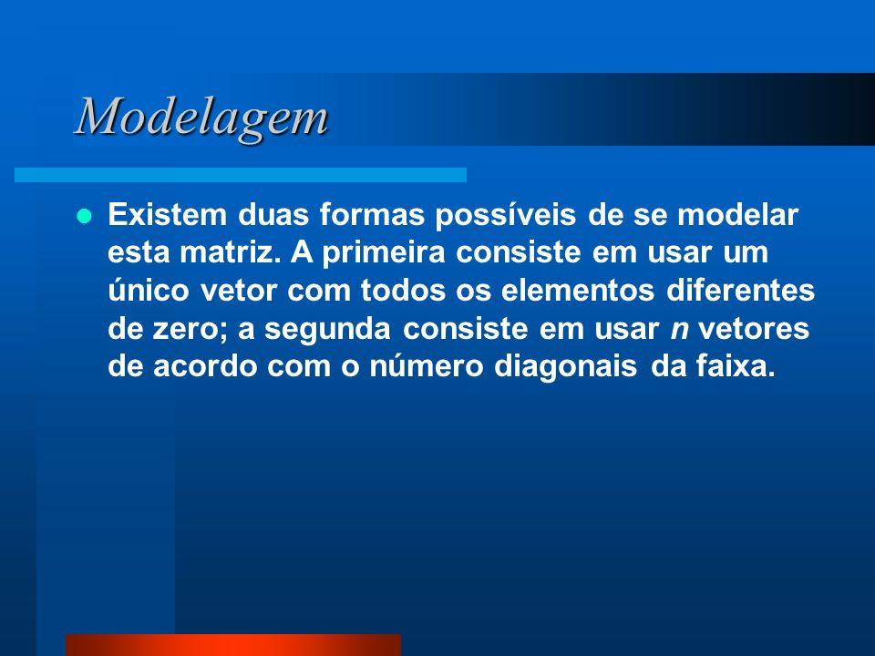 Modelagem Existem duas formas possíveis de se modelar esta matriz. A primeira consiste em usar um único vetor com todos os elementos diferentes de zer