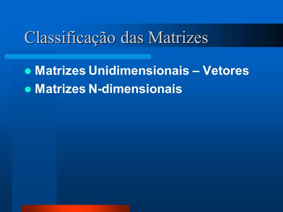 Classificação das Matrizes Matrizes Unidimensionais – Vetores Matrizes N-dimensionais