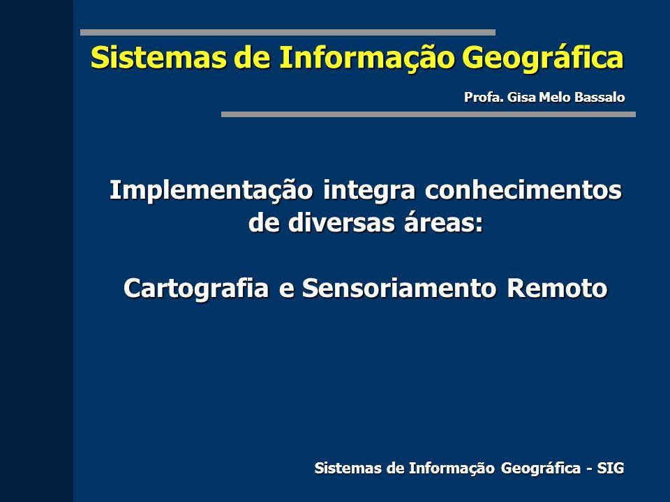 Implementação integra conhecimentos de diversas áreas: Cartografia e Sensoriamento Remoto Sistemas de Informação Geográfica - SIG Sistemas de Informaç