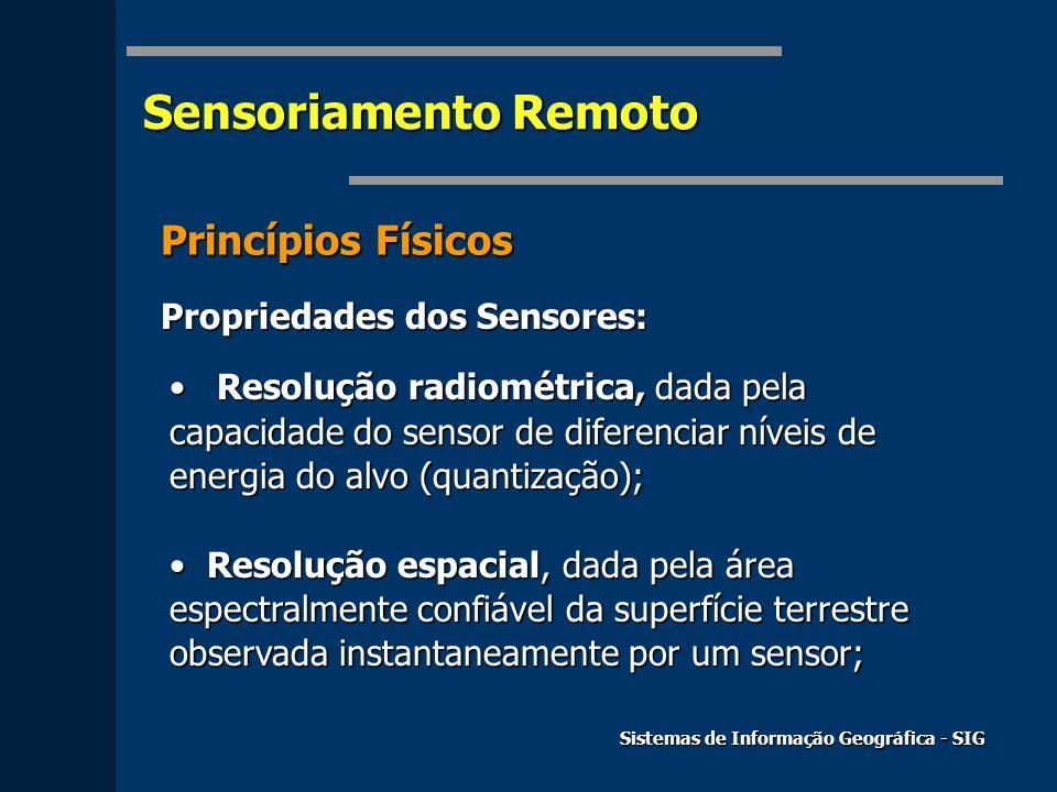 Sensoriamento Remoto Sistemas de Informação Geográfica - SIG Princípios Físicos Propriedades dos Sensores: Resolução radiométrica, dada pela capacidad