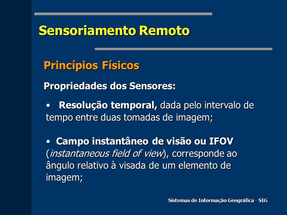 Sensoriamento Remoto Sistemas de Informação Geográfica - SIG Princípios Físicos Propriedades dos Sensores: Resolução temporal, dada pelo intervalo de