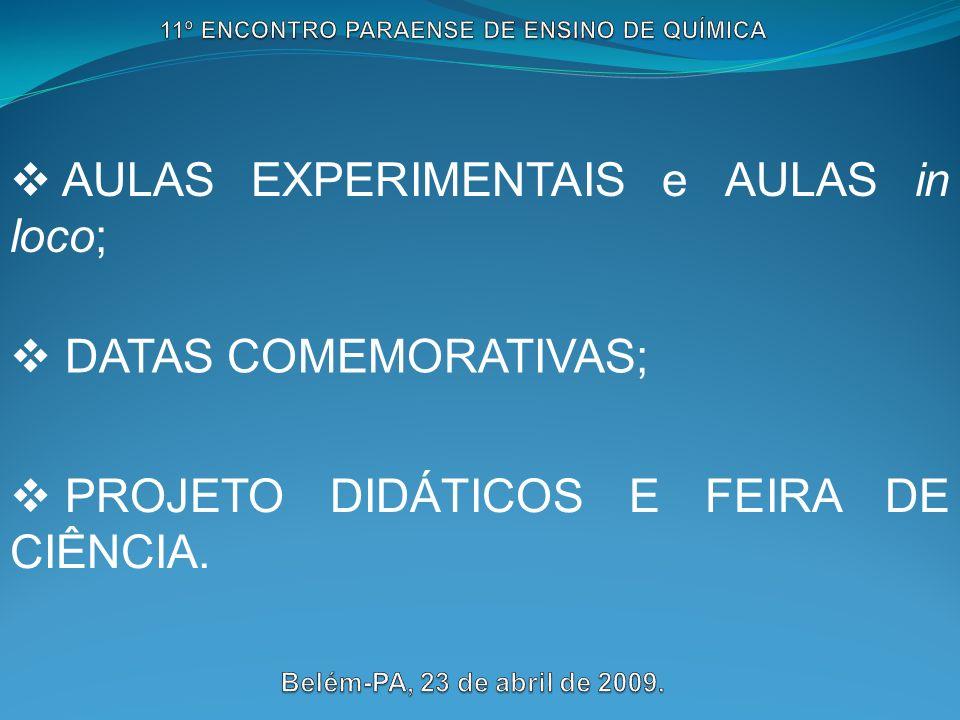 AULAS EXPERIMENTAIS e AULAS in loco; DATAS COMEMORATIVAS; PROJETO DIDÁTICOS E FEIRA DE CIÊNCIA.