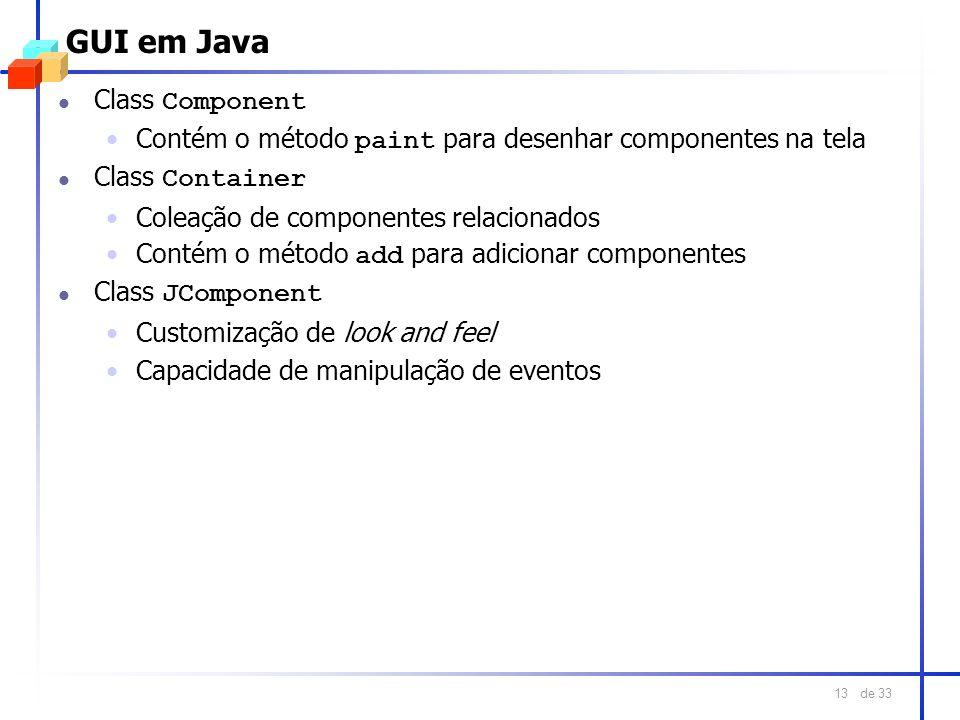 de 33 13 GUI em Java Class Component Contém o método paint para desenhar componentes na tela Class Container Coleação de componentes relacionados Cont