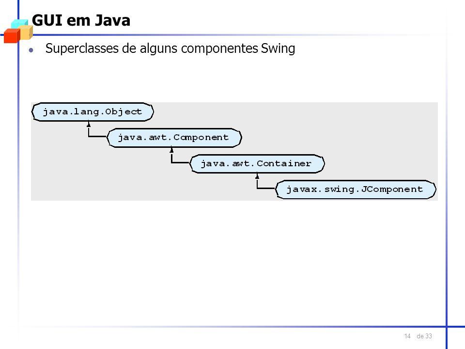 de 33 14 GUI em Java l Superclasses de alguns componentes Swing