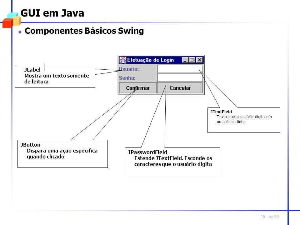 de 33 16 GUI em Java JLabel Mostra um texto somente de leitura JTextField Texto que o usuário digita em uma única linha JPasswordField Estende JTextFi