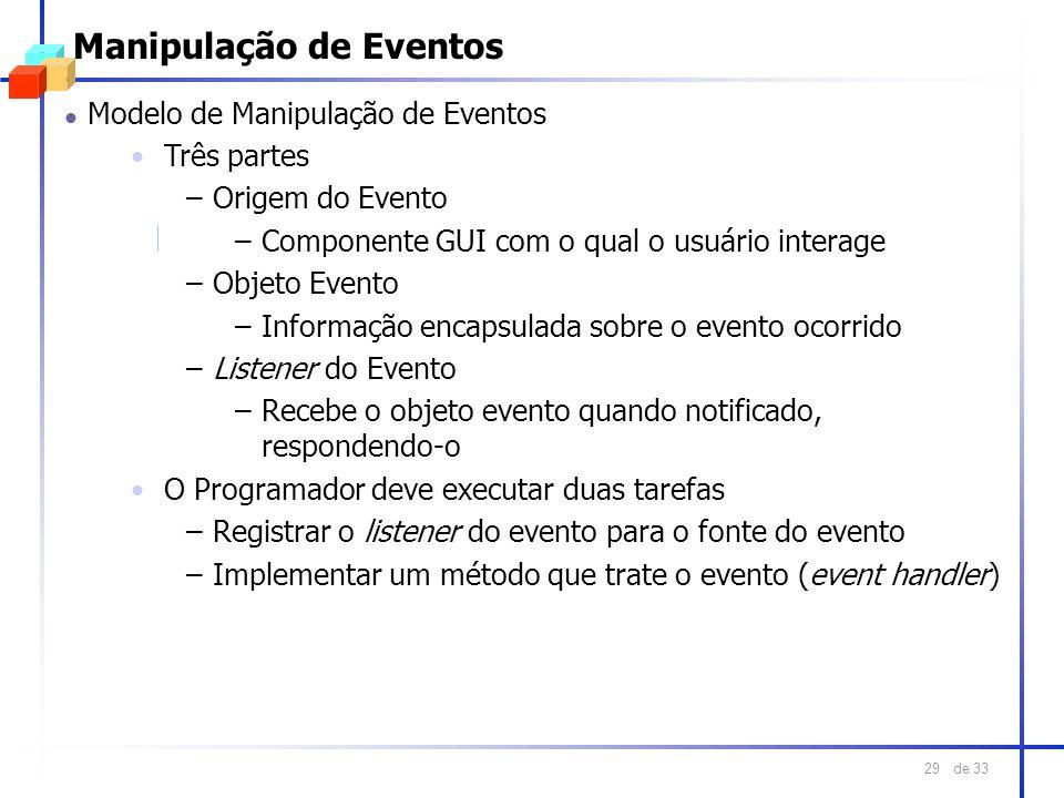 de 33 29 Manipulação de Eventos l Modelo de Manipulação de Eventos Três partes –Origem do Evento –Componente GUI com o qual o usuário interage –Objeto