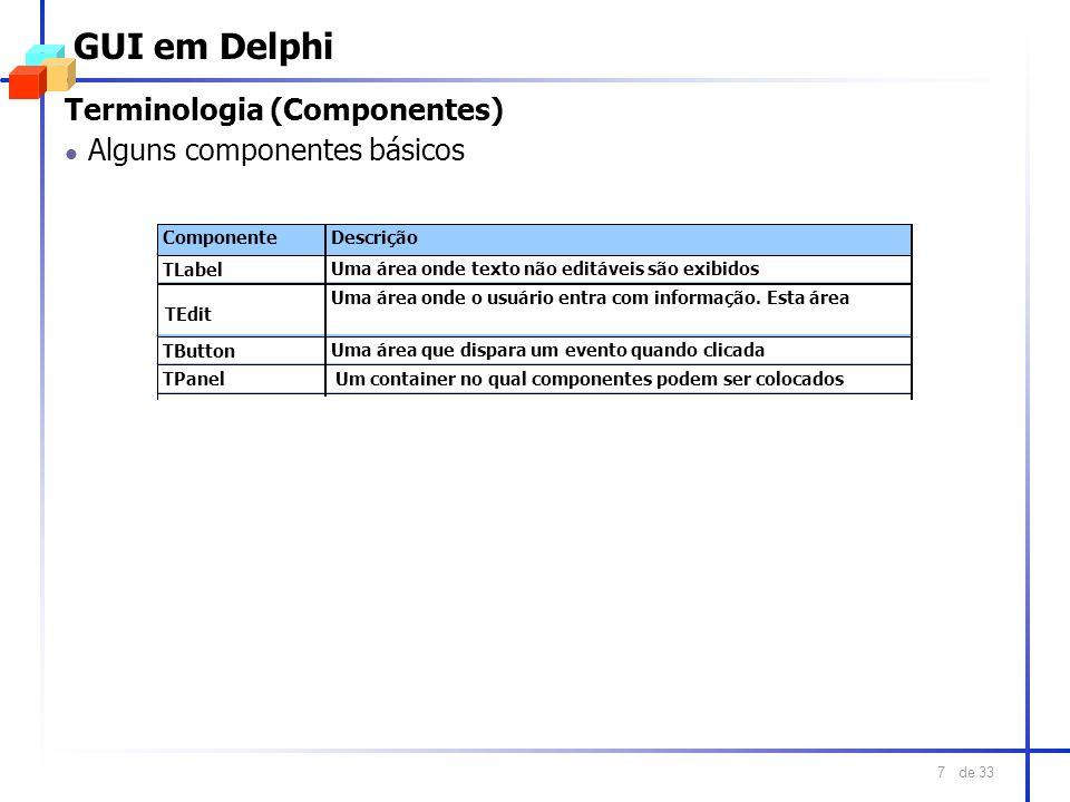 de 33 7 GUI em Delphi Terminologia (Componentes) l Alguns componentes básicos