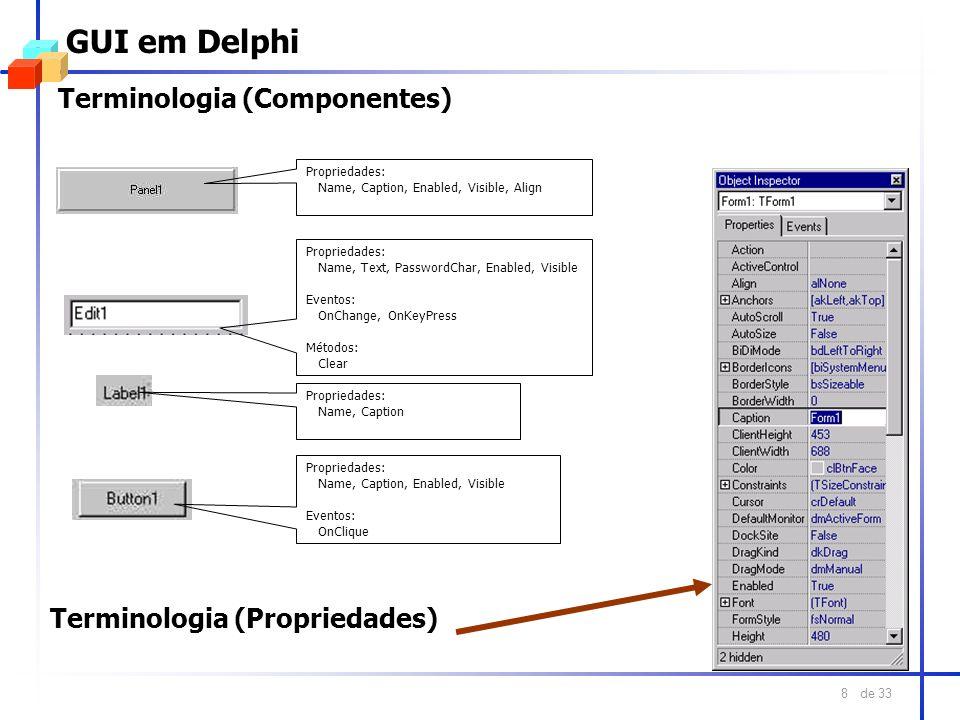 de 33 8 GUI em Delphi Terminologia (Componentes) Propriedades: Name, Text, PasswordChar, Enabled, Visible Eventos: OnChange, OnKeyPress Métodos: Clear