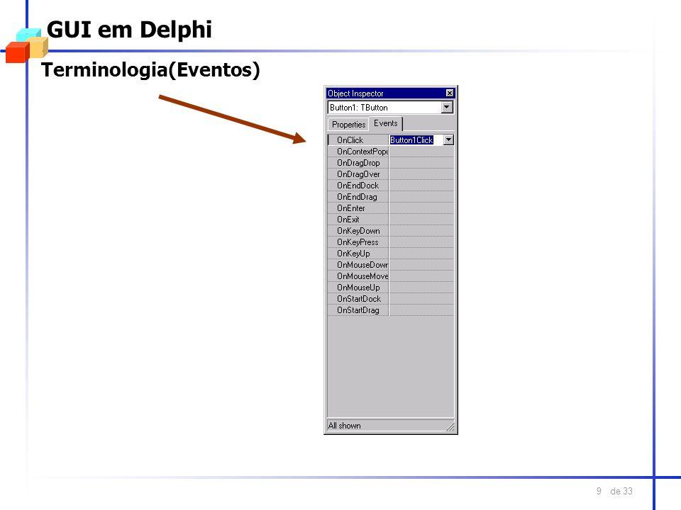 de 33 20 GUI em Java O Gerenciador BorderLayout l Ele é o gerenciador de layout padrão para todas as janelas (Frames e Dialogs) l Distribui os componentes em cinco regiões NORTH (topo do container) SOUTH (base do container) EAST (esquerda do container) WEST (direita do container) CENTER (centro do container) l A área que tem a maior quantidade de espaço disponível é o centro
