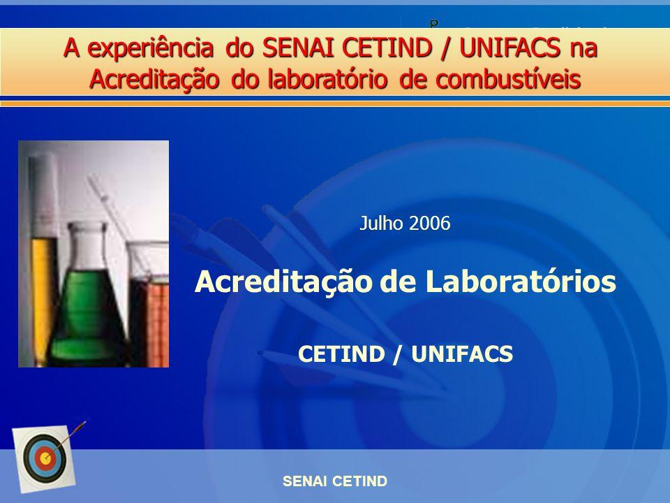 A experiência do SENAI CETIND / UNIFACS na Acreditação do laboratório de combustíveis SENAI CETIND Julho 2006 Acreditação de Laboratórios CETIND / UNI