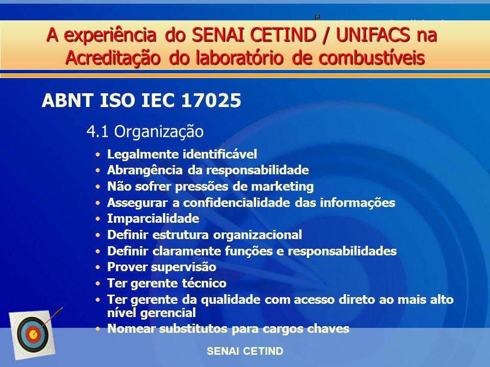 A experiência do SENAI CETIND / UNIFACS na Acreditação do laboratório de combustíveis SENAI CETIND Legalmente identificável Abrangência da responsabil