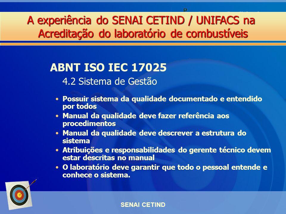 A experiência do SENAI CETIND / UNIFACS na Acreditação do laboratório de combustíveis SENAI CETIND Possuir sistema da qualidade documentado e entendid