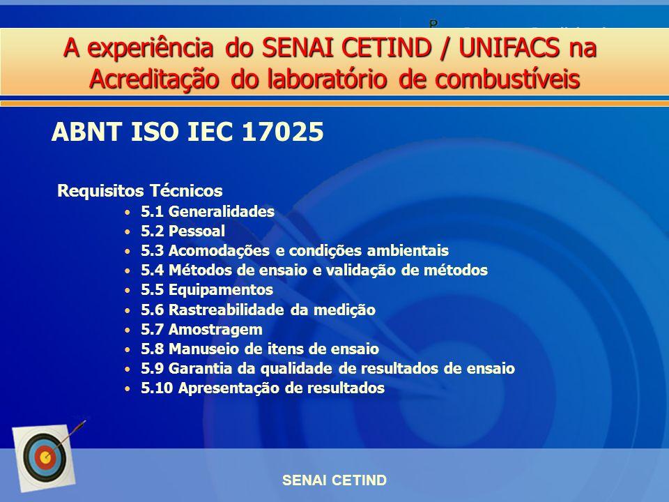 A experiência do SENAI CETIND / UNIFACS na Acreditação do laboratório de combustíveis SENAI CETIND Requisitos Técnicos 5.1 Generalidades 5.2 Pessoal 5