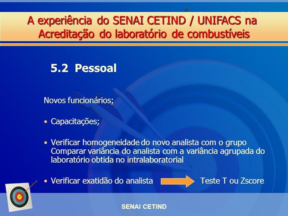 A experiência do SENAI CETIND / UNIFACS na Acreditação do laboratório de combustíveis SENAI CETIND Novos funcionários; Capacitações; Verificar homogen