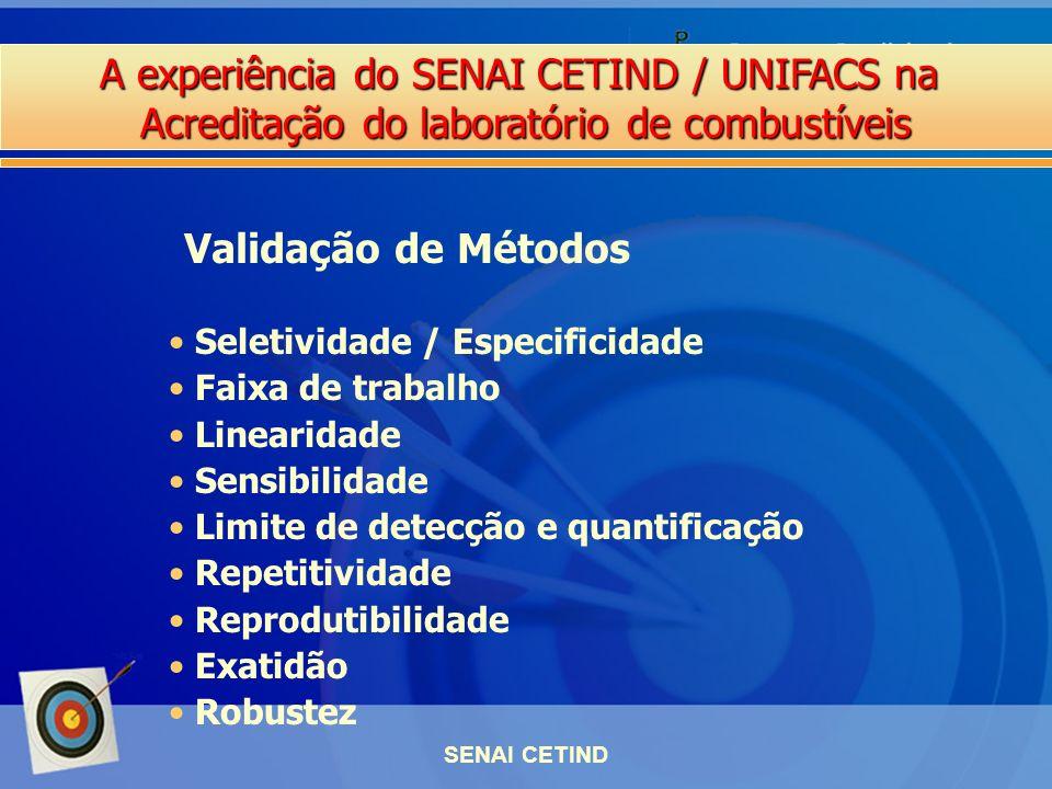 A experiência do SENAI CETIND / UNIFACS na Acreditação do laboratório de combustíveis SENAI CETIND Seletividade / Especificidade Faixa de trabalho Lin