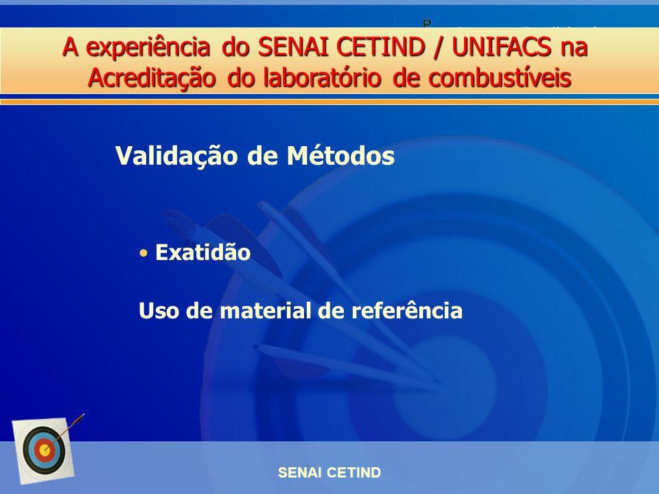 A experiência do SENAI CETIND / UNIFACS na Acreditação do laboratório de combustíveis SENAI CETIND Exatidão Uso de material de referência Validação de