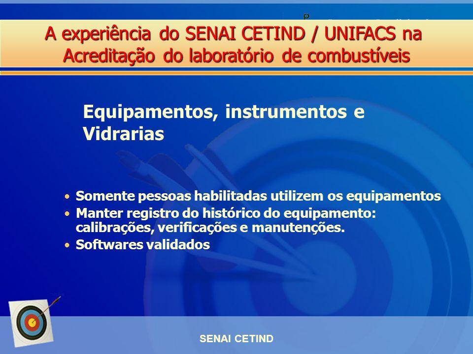A experiência do SENAI CETIND / UNIFACS na Acreditação do laboratório de combustíveis SENAI CETIND Somente pessoas habilitadas utilizem os equipamento