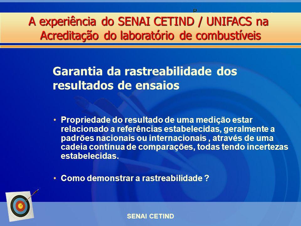 A experiência do SENAI CETIND / UNIFACS na Acreditação do laboratório de combustíveis SENAI CETIND Propriedade do resultado de uma medição estar relac