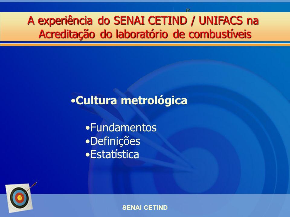 A experiência do SENAI CETIND / UNIFACS na Acreditação do laboratório de combustíveis SENAI CETIND Cultura metrológica Fundamentos Definições Estatíst