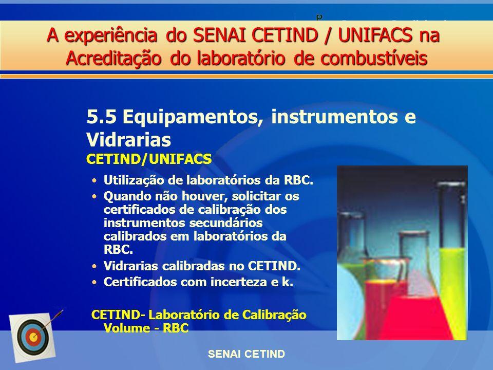 A experiência do SENAI CETIND / UNIFACS na Acreditação do laboratório de combustíveis SENAI CETIND Utilização de laboratórios da RBC. Quando não houve