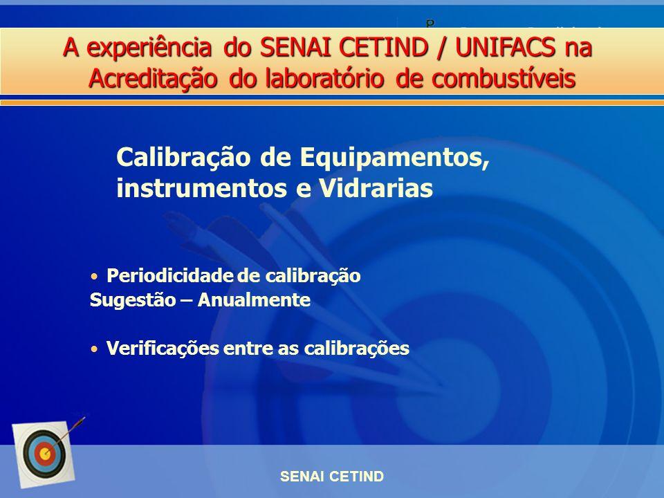 A experiência do SENAI CETIND / UNIFACS na Acreditação do laboratório de combustíveis SENAI CETIND Periodicidade de calibração Sugestão – Anualmente V