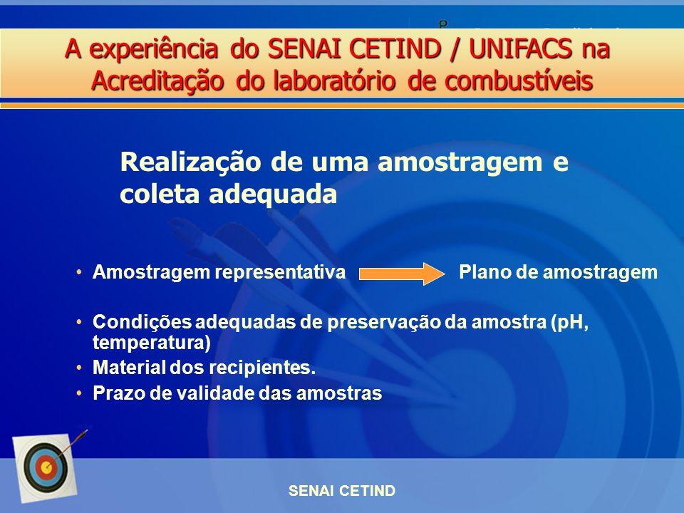 A experiência do SENAI CETIND / UNIFACS na Acreditação do laboratório de combustíveis SENAI CETIND Amostragem representativa Plano de amostragem Condi