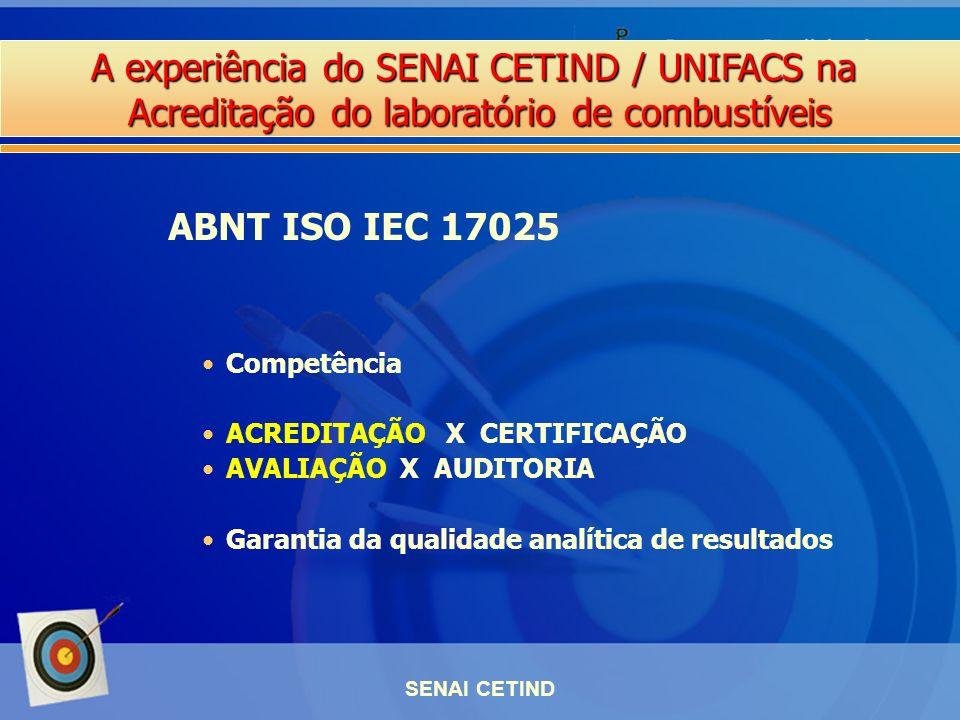 A experiência do SENAI CETIND / UNIFACS na Acreditação do laboratório de combustíveis SENAI CETIND Competência ACREDITAÇÃO X CERTIFICAÇÃO AVALIAÇÃO X