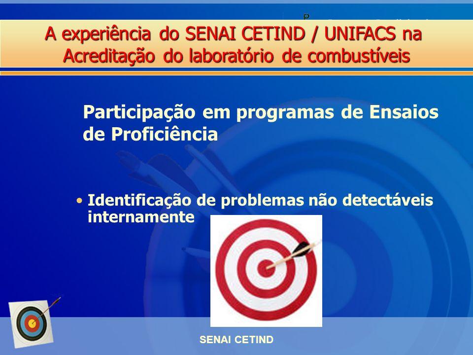 A experiência do SENAI CETIND / UNIFACS na Acreditação do laboratório de combustíveis SENAI CETIND Participação em programas de Ensaios de Proficiênci