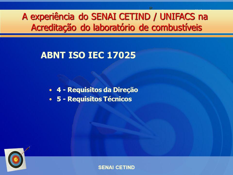 A experiência do SENAI CETIND / UNIFACS na Acreditação do laboratório de combustíveis SENAI CETIND 4 - Requisitos da Direção 5 - Requisitos Técnicos A