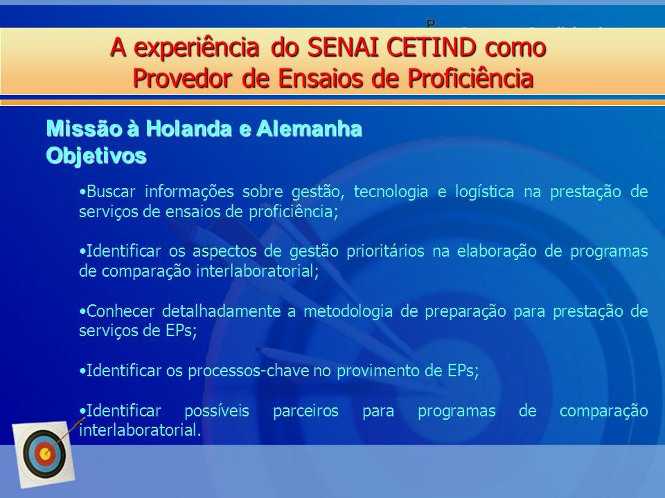 A experiência do SENAI CETIND como Provedor de Ensaios de Proficiência Missão à Holanda e Alemanha Objetivos Buscar informações sobre gestão, tecnolog