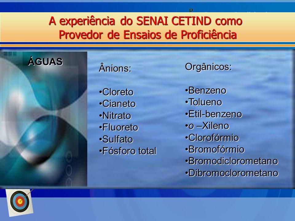 A experiência do SENAI CETIND como Provedor de Ensaios de Proficiência ÁGUAS Ânions: CloretoCloreto CianetoCianeto NitratoNitrato FluoretoFluoreto Sul