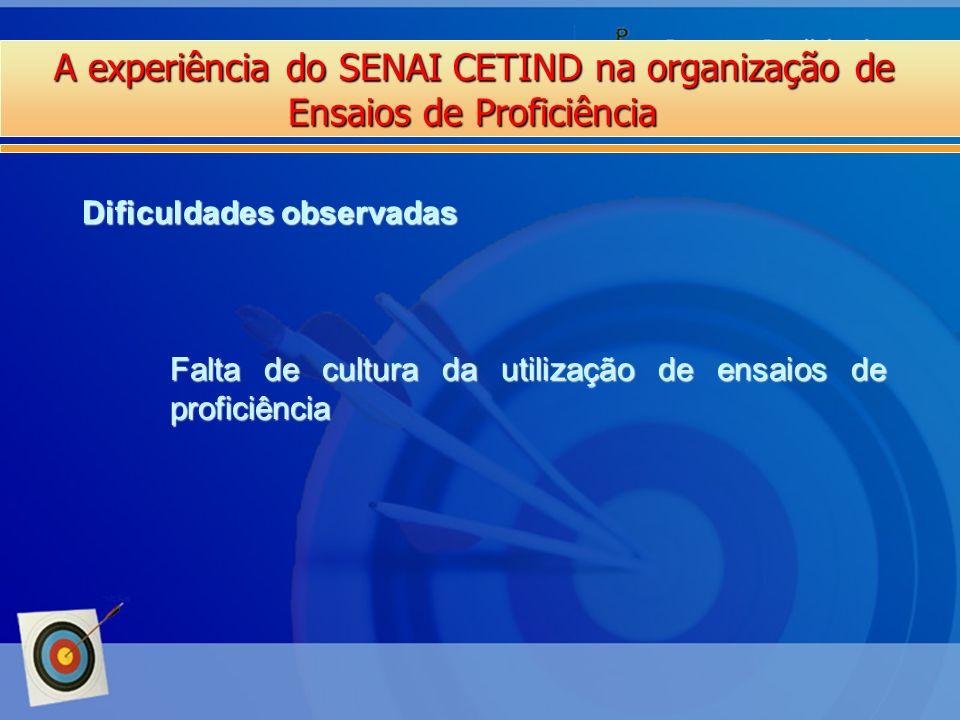 A experiência do SENAI CETIND na organização de Ensaios de Proficiência Dificuldades observadas Falta de cultura da utilização de ensaios de proficiên