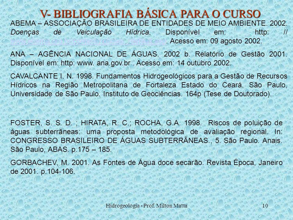 Hidrogeologia - Prof. Milton Matta10 V- BIBLIOGRAFIA BÁSICA PARA O CURSO ABEMA – ASSOCIAÇÃO BRASILEIRA DE ENTIDADES DE MEIO AMBIENTE. 2002. Doenças de