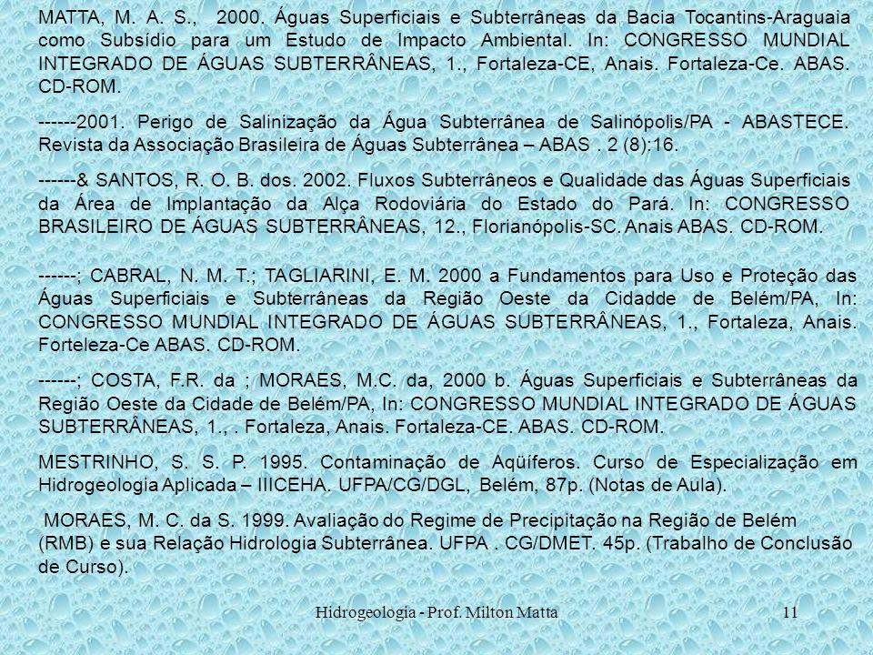 Hidrogeologia - Prof. Milton Matta11 ------; CABRAL, N. M. T.; TAGLIARINI, E. M. 2000 a Fundamentos para Uso e Proteção das Águas Superficiais e Subte