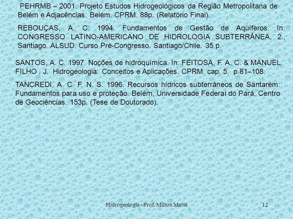 Hidrogeologia - Prof. Milton Matta12 PEHRMB – 2001. Projeto Estudos Hidrogeológicos da Região Metropolitana de Belém e Adjacências. Belém. CPRM. 88p.