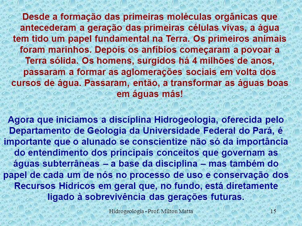 Hidrogeologia - Prof. Milton Matta15 Desde a formação das primeiras moléculas orgânicas que antecederam a geração das primeiras células vivas, a água