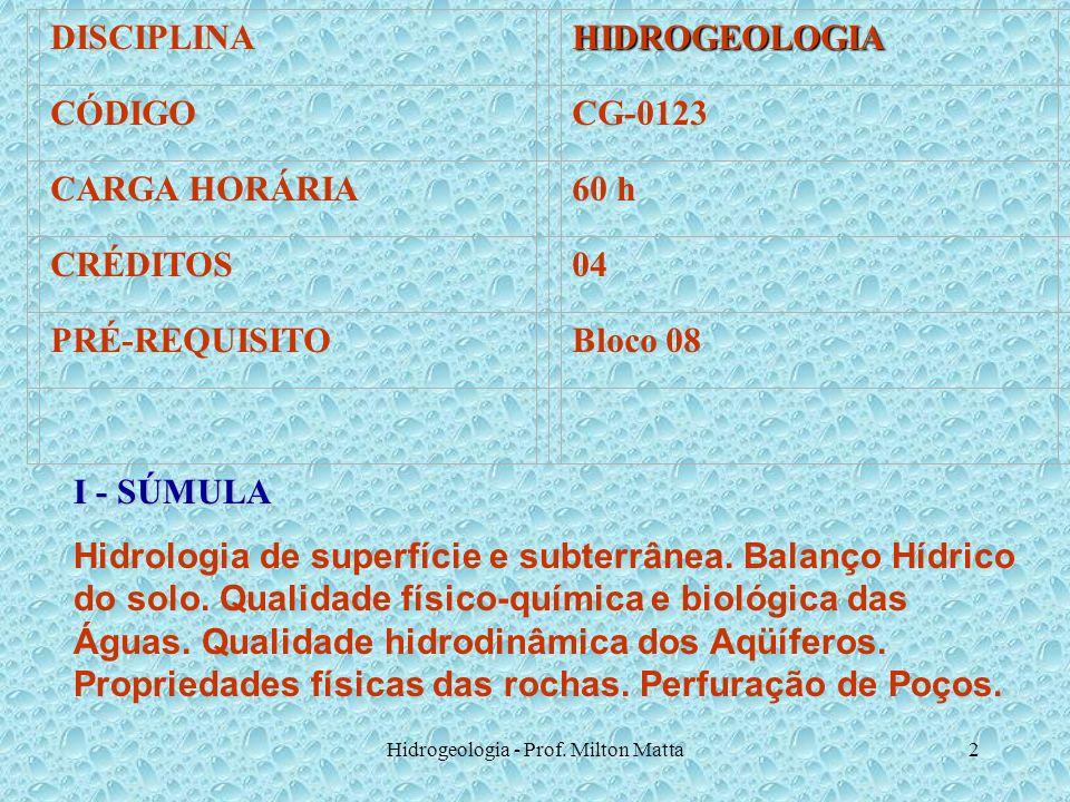 Hidrogeologia - Prof. Milton Matta2 DISCIPLINAHIDROGEOLOGIA CÓDIGOCG-0123 CARGA HORÁRIA60 h CRÉDITOS04 PRÉ-REQUISITOBloco 08 I - SÚMULA Hidrologia de