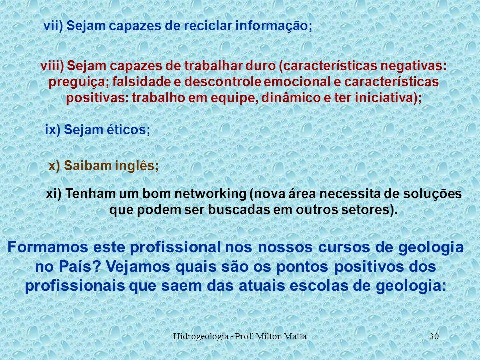 Hidrogeologia - Prof. Milton Matta30 vii) Sejam capazes de reciclar informação; viii) Sejam capazes de trabalhar duro (características negativas: preg