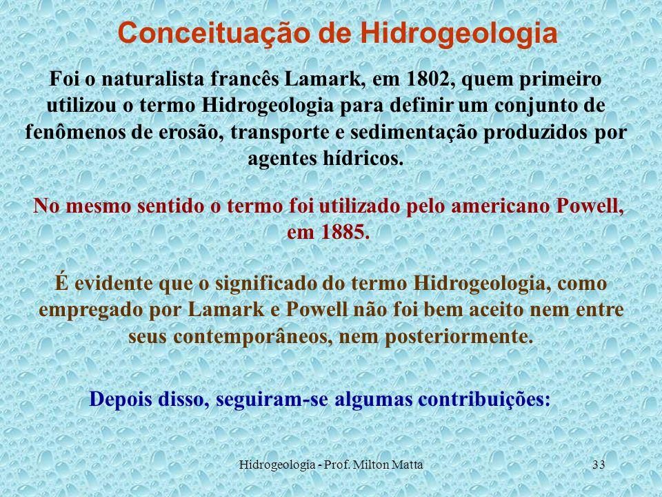 Hidrogeologia - Prof. Milton Matta33 Conceituação de Hidrogeologia Foi o naturalista francês Lamark, em 1802, quem primeiro utilizou o termo Hidrogeol