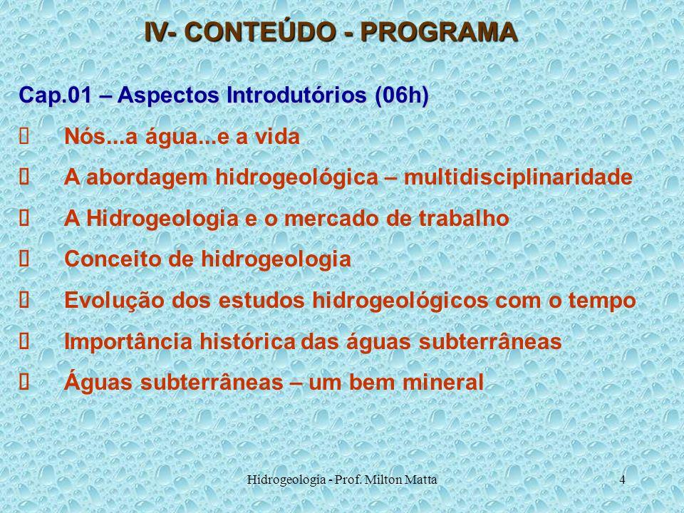 Hidrogeologia - Prof. Milton Matta4 IV- CONTEÚDO - PROGRAMA Cap.01 – Aspectos Introdutórios (06h) Nós...a água...e a vida A abordagem hidrogeológica –